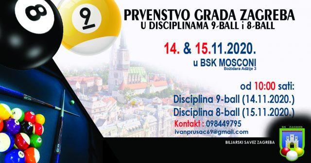 Prvenstvo grada Zagreba u BSK Mosconi 14. i 15.11.2020.