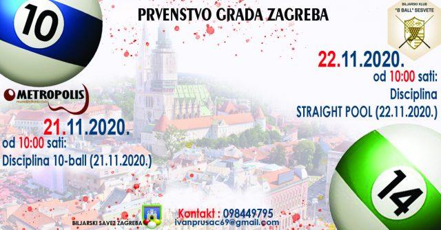 Prvenstvo grada Zagreba u 10-ball i Straight Pool 21. i 22.11.2020.